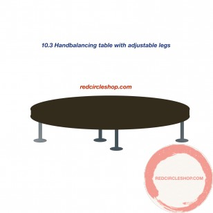 Handbalancing table with adjustable legs.