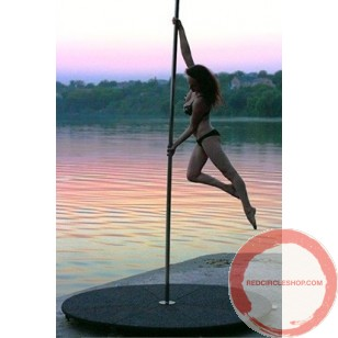Pole with pedestal for acrobatic dance, spinning.